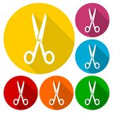 Simple Scissors symbol icon with long shadow. Simple Scissors symbol icons set with long shadow,  icon Stock Images