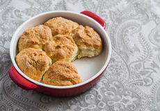 Simple scones in the baking dish Royalty Free Stock Photography