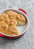 Simple scones in the baking dish Royalty Free Stock Photo
