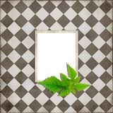 Simple scrapbook layout. With green leaves Royalty Free Stock Photo