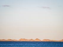 Simple sea landscape. Blue sea in Corralejo Dunes National Park in Fuerteventura, Canary Island, Spain Stock Photos