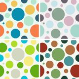 4 simple seamless background with colored circles. Vector illustration Stock Photography