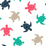 Simple seamless background with a silhouette of a turtle on a white background. Vector illustration. Vector. Simple seamless background with a silhouette of a Royalty Free Stock Images