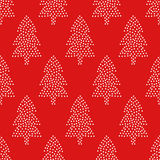 Simple seamless Christmas pattern - Xmas trees on red background. Happy New Year background. Vector winter holidays design for textile, wallpaper, fabric Royalty Free Stock Image