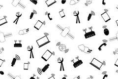 Simple seamless doodle Background - telecomunicaton Signal Stock Photography