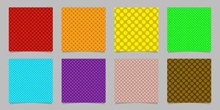 Simple seamless dot background pattern design set - squared vector graphics from colored circles. Simple abstract seamless polka dot background pattern design Royalty Free Stock Photos