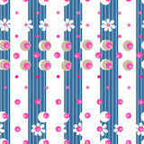 Simple seamless floral pattern and dots striped Stock Photography