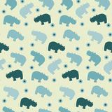 Simple seamless hippo papttern Stock Photo