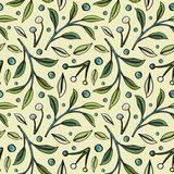 Simple seamless pattern with berries and leaves on grey background stock illustration