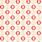Simple Seamless Pattern Bitcoins Signs On White Background  Royalty Free Stock Photos