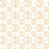 Simple Seamless Pattern Bitcoins Signs On White Background  Royalty Free Stock Photography