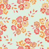Simple seamless pattern with cute doodle flowers. Abstract floral background. Vector illustration for design, fabric and royalty free illustration