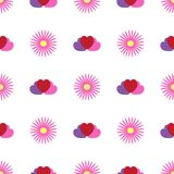 Simple seamless pattern with flowers and hearts. Floral vector illustration. royalty free illustration