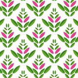 Simple seamless pattern of green and purple leaves Royalty Free Stock Photo