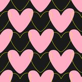 Simple seamless pattern with hearts. Cute print drawn by hand. Black, pink, yellow. Simple seamless pattern with hearts. Cute print drawn by hand. Romantic stock illustration
