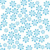 Simple seamless pattern with light blue floral ornament. Blue flower seamless background on the white backdrop stock illustration