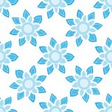 Simple seamless pattern with light blue floral ornament. Blue flower seamless background on the white backdrop royalty free illustration