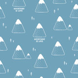 Simple  seamless pattern with mountains. Royalty Free Stock Photo
