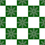 Simple seamless pattern. Retro, checked, flowers. In color green and white Stock Images