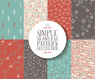 Simple seamless pattern set hipster vintage cute Royalty Free Stock Image