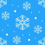 Simple seamless pattern with snowflakes. Winter endless background. Vector illustration. On white background stock photography