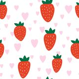 Simple Strawberry Seamless Pattern. Simple Seamless Pattern with strawberries. Valentines Day. Vector illustration Royalty Free Stock Images