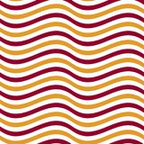 Simple seamless pattern with wave red and yellow gold stripes. Naive geometry line motif vector illustration