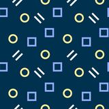 Simple, seamless/repeat memphis pattern/texture. Light-blue, light-yellow and white elements on dark blue. Square pattern Royalty Free Stock Photo