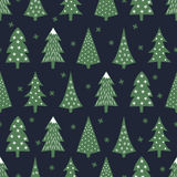 Simple seamless retro Christmas pattern - varied Xmas trees and snowflakes. Stock Photo