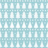 Simple seamless retro Christmas pattern - varied Xmas trees. Stars and snowflakes. Baby blue Happy New Year background. Vector design for winter holidays Royalty Free Stock Photography