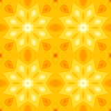 Simple seamless texture with a yellow star or flower and orange leaves. Suitable for print on textiles, bed sheets, tablecloths, wrapping paper, kitchen tiles Royalty Free Stock Image