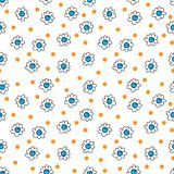 Simple seamless vector background chamomile drawing, blue and orange flowers ordinary, easy simple drawing the background of polka. Simple seamless vector vector illustration