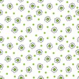 Simple seamless vector background chamomile drawing, green flowers ordinary, easy simple drawing the background of polka dots. Simple seamless vector background royalty free illustration
