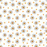 Simple seamless vector background chamomile drawing, orange flowers ordinary, easy simple drawing the background of polka dots. Simple seamless vector background vector illustration