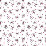 Simple seamless vector background chamomile drawing, pink flowers ordinary, easy simple drawing the background of polka dots. Simple seamless vector background stock illustration
