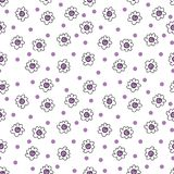 Simple seamless vector background chamomile drawing, purple flowers ordinary, easy simple drawing the background of polka dots. Simple seamless vector background stock illustration