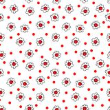 Simple seamless vector background chamomile drawing, red flowers ordinary, easy simple drawing the background of polka dots. Simple seamless vector background vector illustration