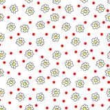 Simple seamless vector background chamomile drawing, red and yellow flowers ordinary, easy simple drawing the background of polka. Simple seamless vector stock illustration