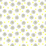 Simple seamless vector background chamomile drawing, yellow, flowers ordinary, easy simple drawing the background of polka dots. Simple seamless vector vector illustration