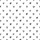 Simple seamless vector pattern of abstract hand-drawn hearts on a white background Royalty Free Stock Image