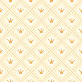 Simple seamless vector pattern with crown. Orange Stock Images