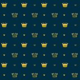 Simple seamless vector pattern with crown symbol Royalty Free Stock Photos