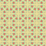Simple seamless vintage pattern of flowers and leaves. Royalty Free Stock Images