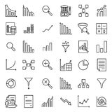 Simple set of analytic related outline icons. Stock Image