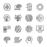 Simple set of artificial intelligence related line icons contain Stock Photo