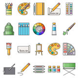 Simple Set ofArtistic Vector Flat Icons. Contains suchIconsas palette, watercolors, artistic tools, easel Stock Photography