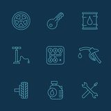 Simple set of auto related vector icons for your. Illustrated icons on the theme of cars, a variety of simple linear style Royalty Free Stock Photos