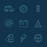 Simple set of auto related vector icons for your. Illustrated icons on the theme of cars, a variety of simple linear style Stock Photo