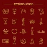 Simple Set of Awards Related Vector Line Icons. Award icon set. High quality outline symbol collection of achievement. Awards and Triumph icons collection Royalty Free Stock Photo
