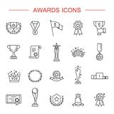 Simple Set of Awards Related Vector Line Icons. Award icon set. High quality outline symbol collection of achievement. Awards and Triumph icons collection Royalty Free Stock Photography